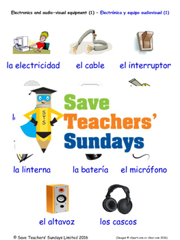 Electronic Equipment in Spanish Worksheets, Games, Activities and Flash Cards(1)
