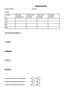 Electronic Fillable PDF form for Teacher Input Regarding Specific Student