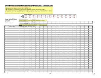 Electronic Grade Book By Percentage Microsoft Excel Spreadsheet