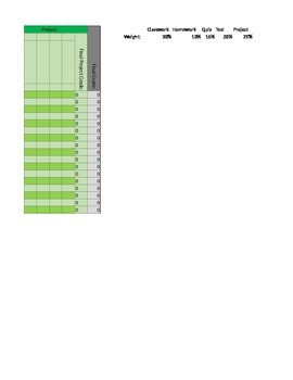 Electronic Gradebook Spreadsheet
