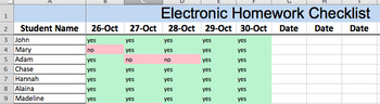 Electronic Homework Checklist Bundle (Editable)