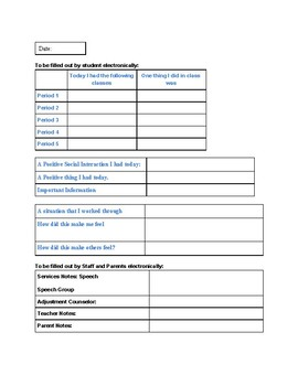 Electronic Parent Communication Homelog Template