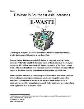 Electronic Waste increases in Asia review article lesson questions - E-Waste