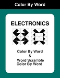 Electronics - Color By Word & Color By Word Scramble Worksheets