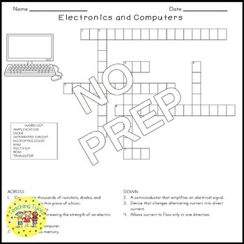 Electronics Computers Science Crossword Puzzle Coloring Worksheet Middle School