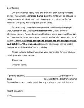 Electronics day permission letter to parents by ms hawkins classroom electronics day permission letter to parents altavistaventures Images