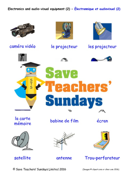 Electronics Equipment 2 in French Worksheets, Games, Activities and Flash Cards