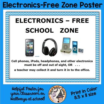 Electronics Free School Zone Sign Mini Poster for Hallways School Cell Phones