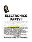 Electronics Party Letter for Parents!