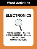 Electronics - Word Search, Word Scramble,  Secret Code,  Crack the Code