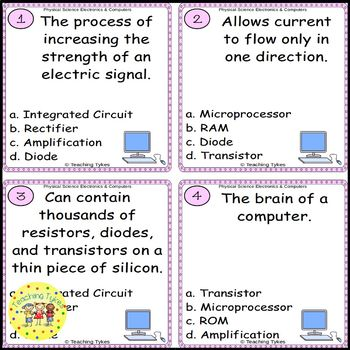 Electronics and Computers Task Cards