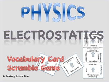Electrostatics: Physics Vocabulary Scramble Game
