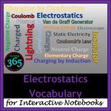 Electrostatics Vocabulary for Interactive Notebooks