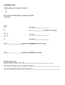 Electrostatics and Coulomb's Law Guided Notes