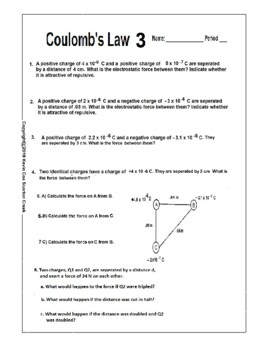 Electrostatics or Coulomb's Law Quiz or Worksheet (2 flavors Honors and  College)