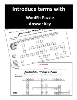 Electrostatics vocabulary review WordFit Puzzle