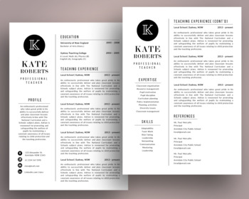 Elegant 3 in 1 teacher resume template for MS PowerPoint, NR05