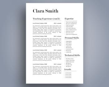 Elegant 3 in 1 teacher resume template for MS PowerPoint, NR07
