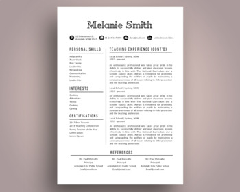 Elegant 3 in 1 teacher resume template for MS PowerPoint, NR08