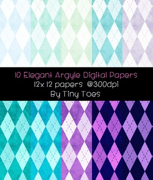 Elegant Argyle Digital Papers 10 Soft Colors at 300dpi 12x12 JPG