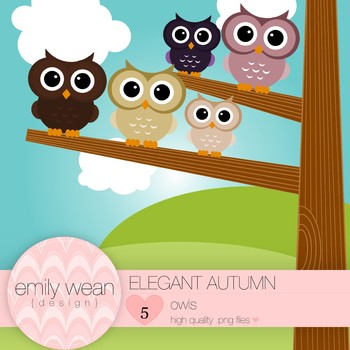 Elegant Autumn- Owl Clip Art