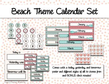Elegant Beachy Calendar and Days of the Week Chart