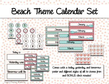 Beach Calendar and Days of the Week Chart