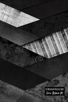 Elegant Black Digital Paper Pack, Monochromatic Charcoal Grey Backgrounds