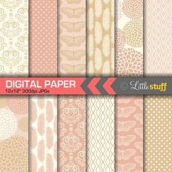 Elegant Blush and Gold Digital Papers