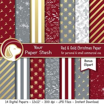 Elegant Burgundy Gold & Gray Christmas Digital Scrapbook Papers & Backgrounds