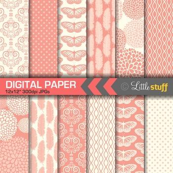 Elegant Coral Digital Papers