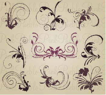Elegant Flourishes Clip Art - Commercial and Personal Use