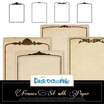 Elegant Frame Set with Antique Paper Samples
