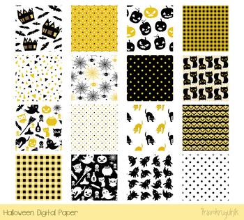 Elegant Halloween digital paper set, Black and gold seamless pattern background