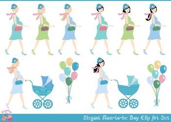 Elegant Mom-to-be Boy Clipart Set