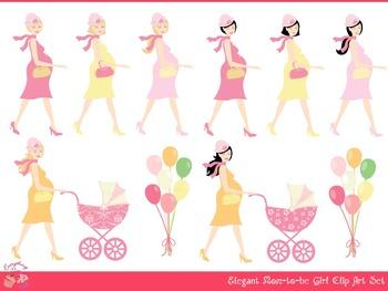 Elegant Mom-to-be Girl Clipart Set