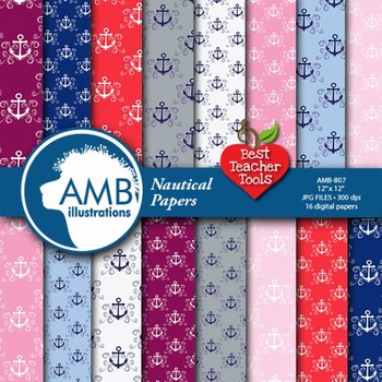 Digital Papers - Nautical digital papers and backgrounds,  AMB-807