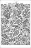 Elegant Paisleys (detailed version) - Printable Colouring Page.