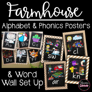 Rustic Chalkboard Alphabet Posters, Phonics Posters and Word Wall
