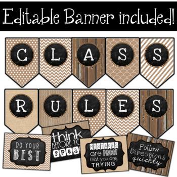 Rustic Chalkboard Classroom Rules Editable