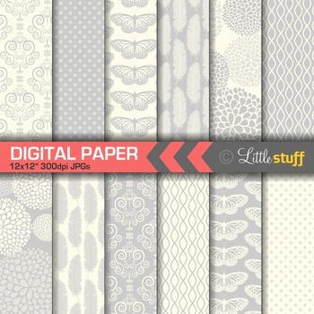 Elegant Silver Digital Papers