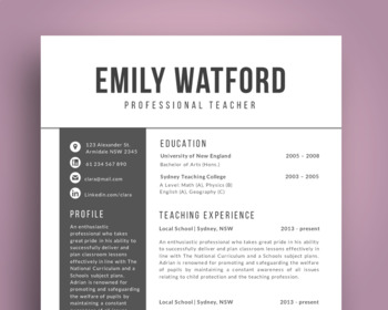 elegant modern teacher resume template for ms powerpoint nr10 by