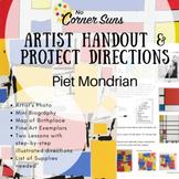 Elem. Art - Artist Handout with Bio, & Step-by-Step Directions:  Piet Mondrian