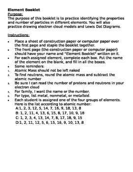 Element Booklet - Identifying Atomic Particles and Drawing Electron Cloud Models