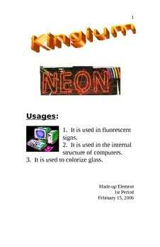 Element Booklet Project Sample