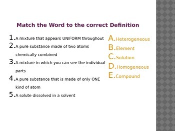 Element, Compound Mixture Vocab Opener 1