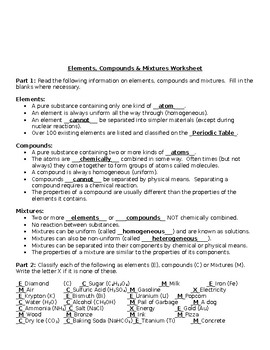 Element/Compound/Mixture worksheet by Julia Roberto | TpT