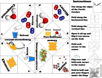 Elements Compounds and Mixtures Activity/ Foldable (No Prep Scoot Game/ Quiz)