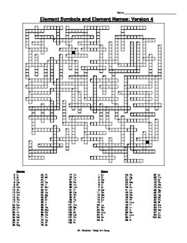 Element Crossword Puzzle (5 versions!) w/ Names and Symbols and Answer Key