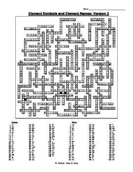 Crossword puzzle 6 versions w names and symbols and answer key element crossword puzzle 6 versions w names and symbols and answer key ccuart Gallery